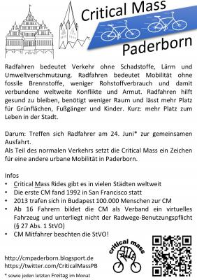 Flyer mit Infotext zur Critical Mass