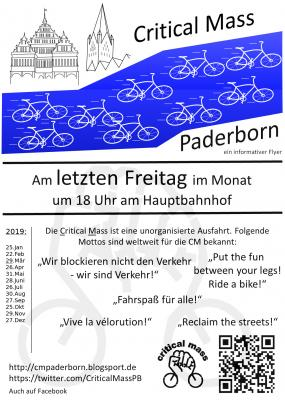 Critical Mass Paderborn Flyer Termine 2019