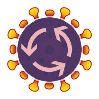 Verkehrszeichen Kreisverkehr überblendet mit künstlerischer Darstellung eines Coronavirus